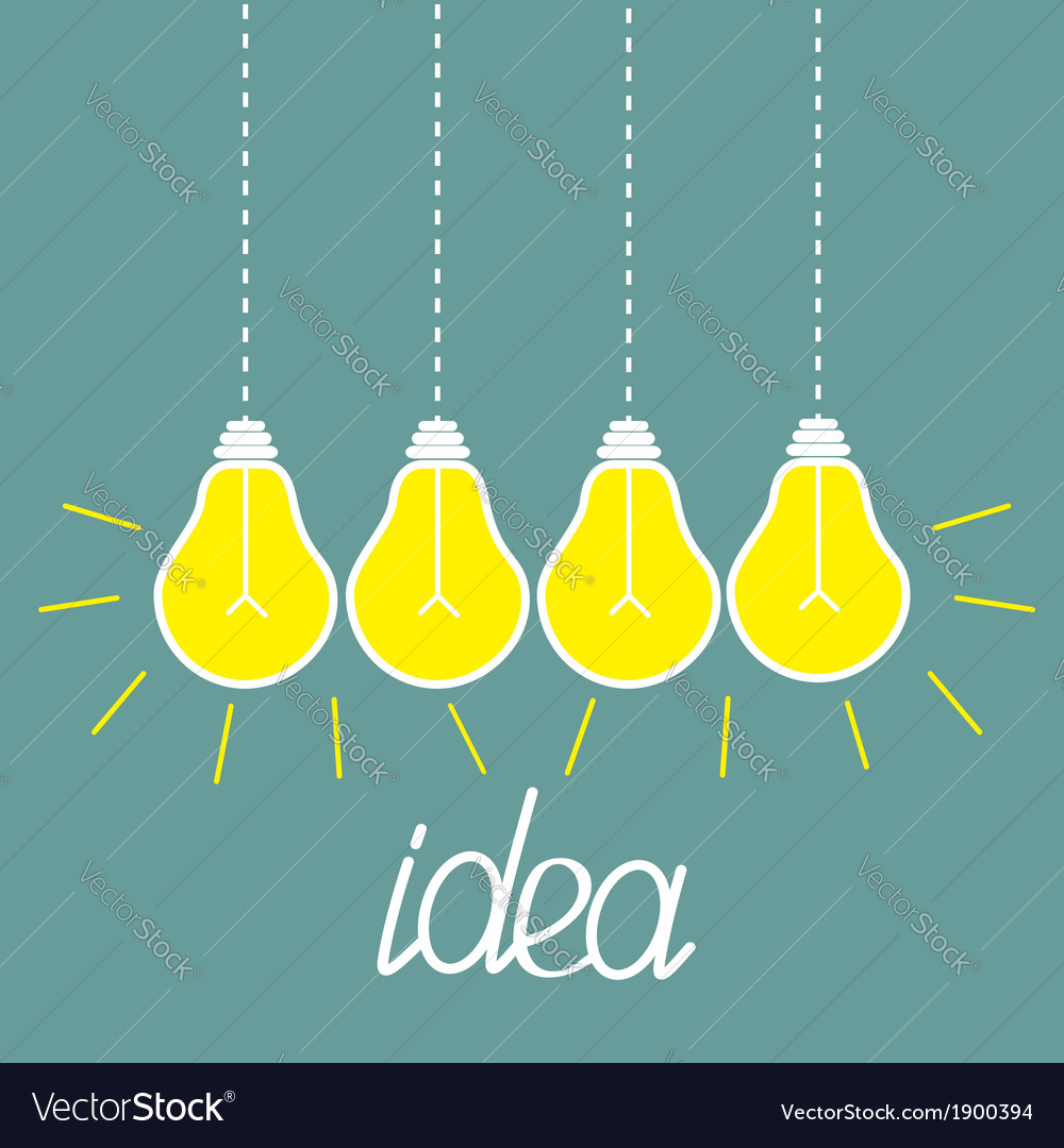 Hanging yellow light bulbs idea concept vector | Price: 1 Credit (USD $1)