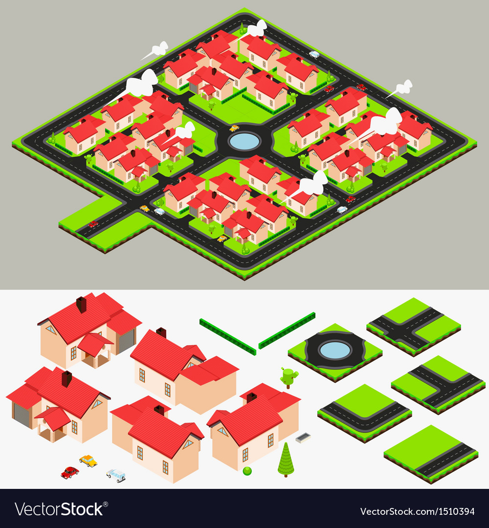 Isometric cluster house collection set vector | Price: 3 Credit (USD $3)