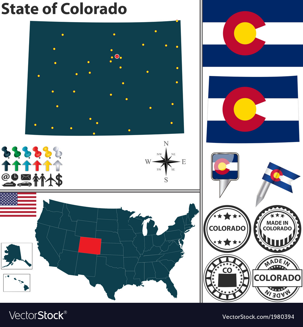 Map of colorado vector | Price: 1 Credit (USD $1)