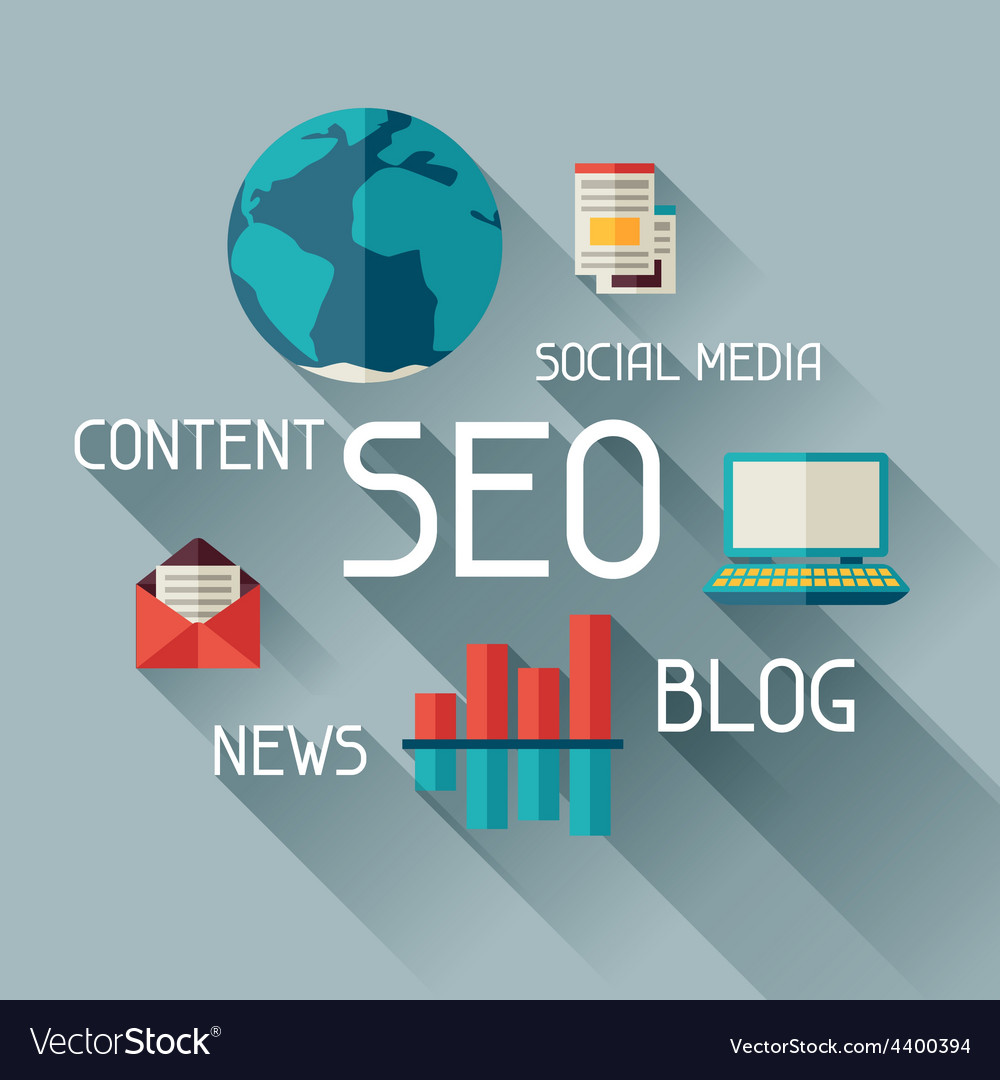 Seo concept in flat design style vector | Price: 1 Credit (USD $1)