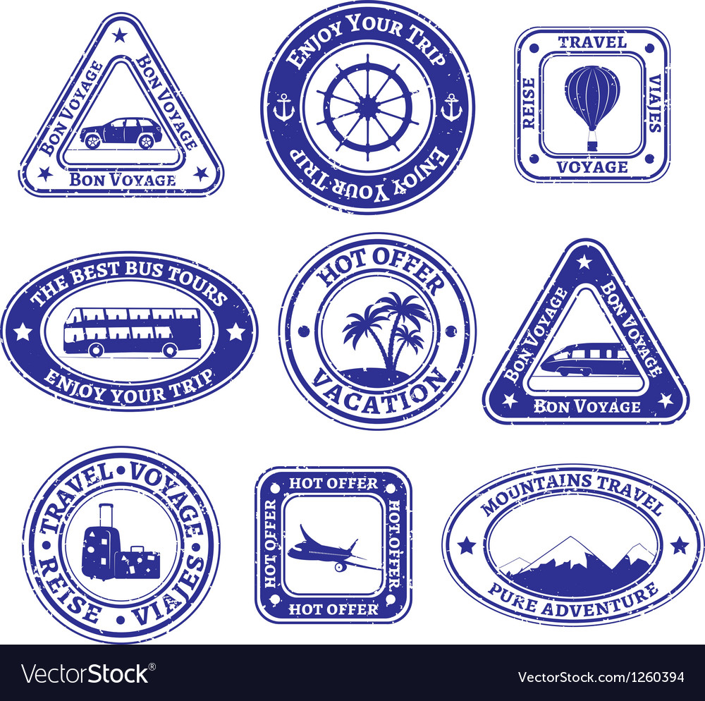 Set of scratched stamps on travel and tourism vector | Price: 1 Credit (USD $1)