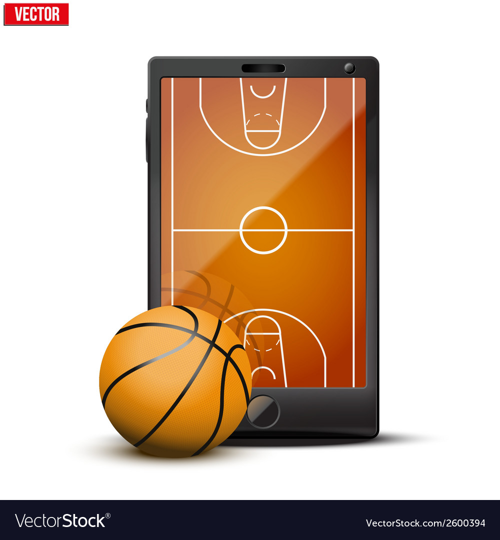 Smartphone with basketball ball and field on the vector | Price: 1 Credit (USD $1)