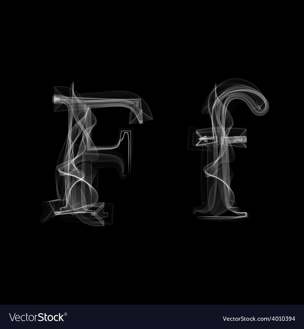Smoke font letter f vector | Price: 1 Credit (USD $1)