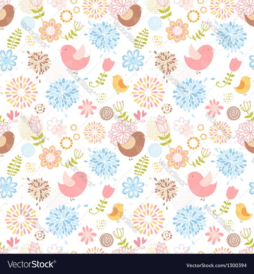 Summer lovely floral seamless pattern vector | Price: 1 Credit (USD $1)