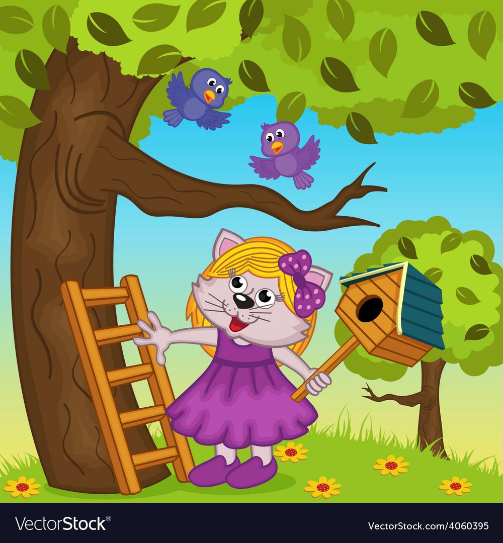 Cat girl bears a birdhouse vector | Price: 3 Credit (USD $3)