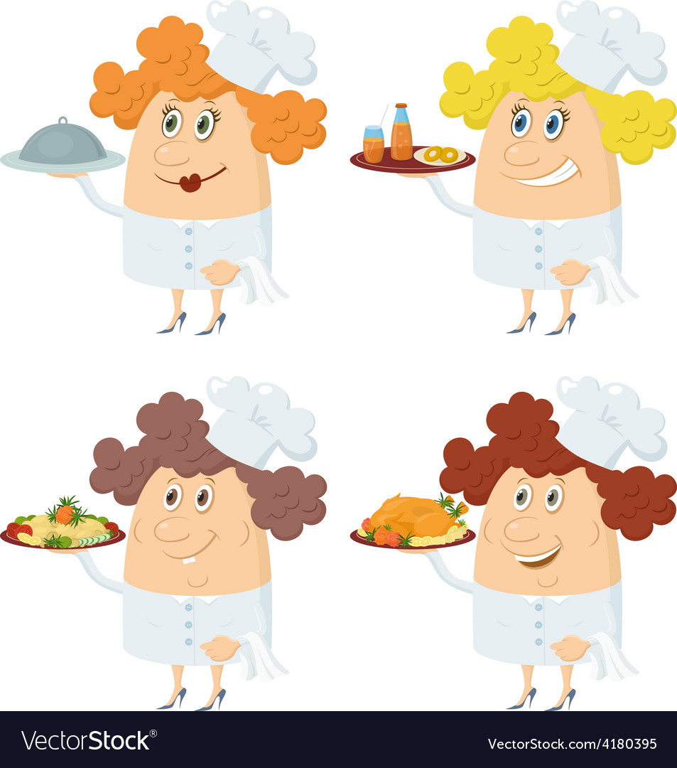 Cooks women with trays set vector | Price: 1 Credit (USD $1)