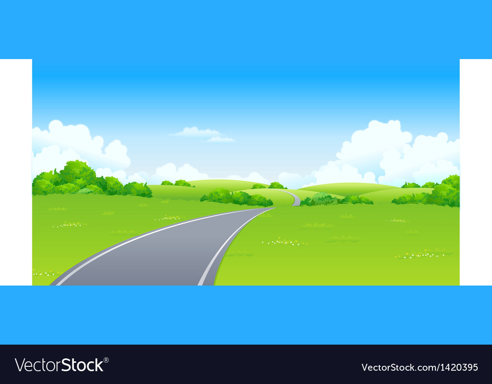 Curved road green landscape vector | Price: 1 Credit (USD $1)