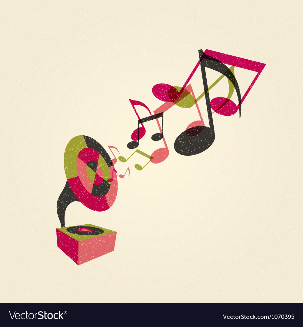 Gramophone with music vector | Price: 1 Credit (USD $1)