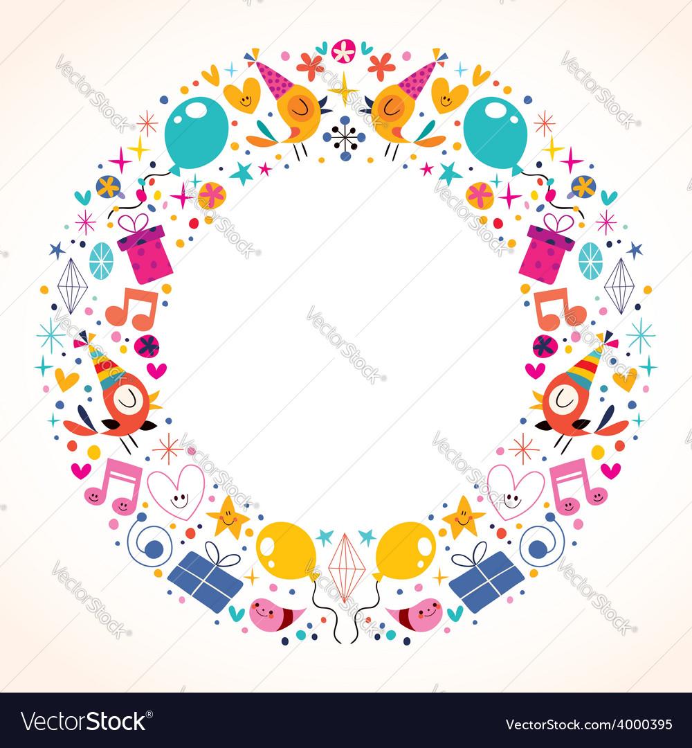 Happy birthday circle frame border design vector | Price: 1 Credit (USD $1)