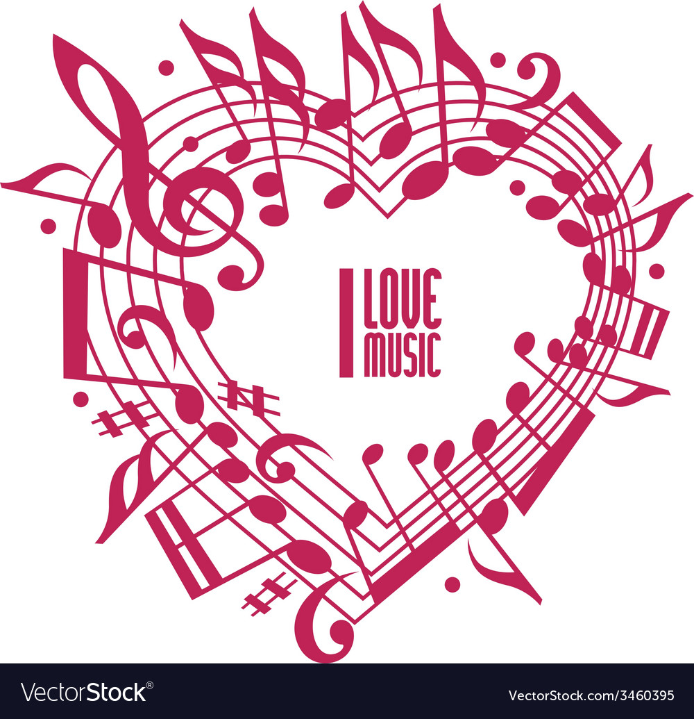 I love music concept single color design vector | Price: 1 Credit (USD $1)
