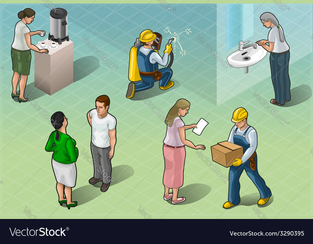 Isometric services people in some positions vector | Price: 3 Credit (USD $3)