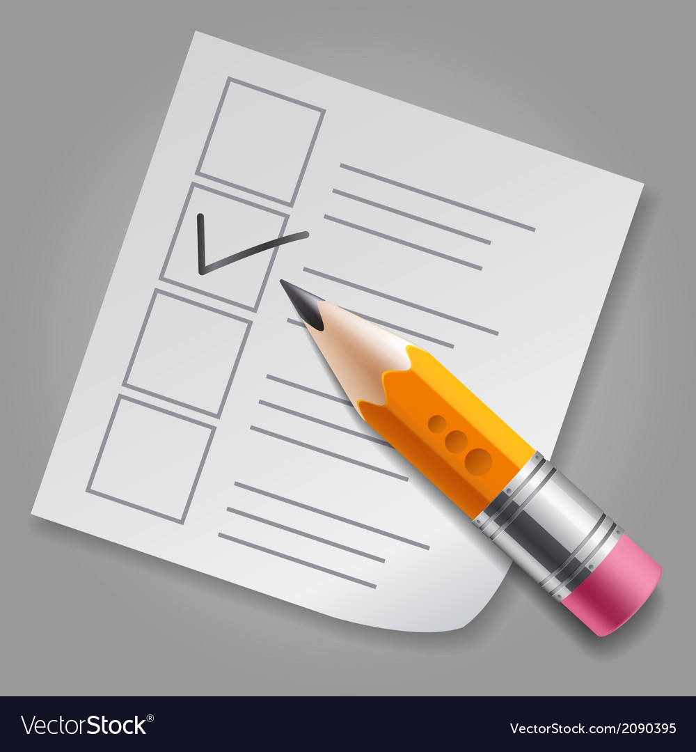 Orange pencil and checklist vector | Price: 1 Credit (USD $1)