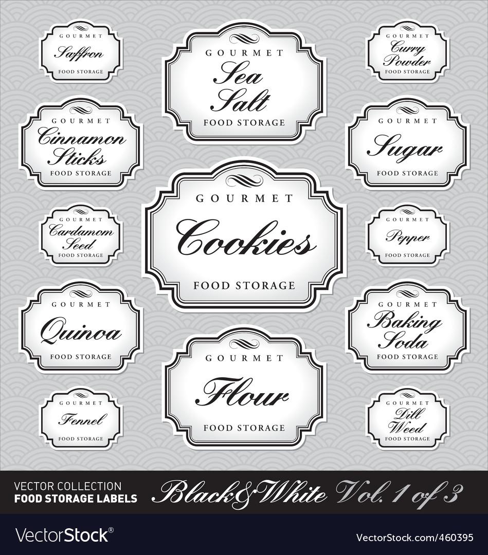 Ornate food storage labels vol1 vector | Price: 1 Credit (USD $1)