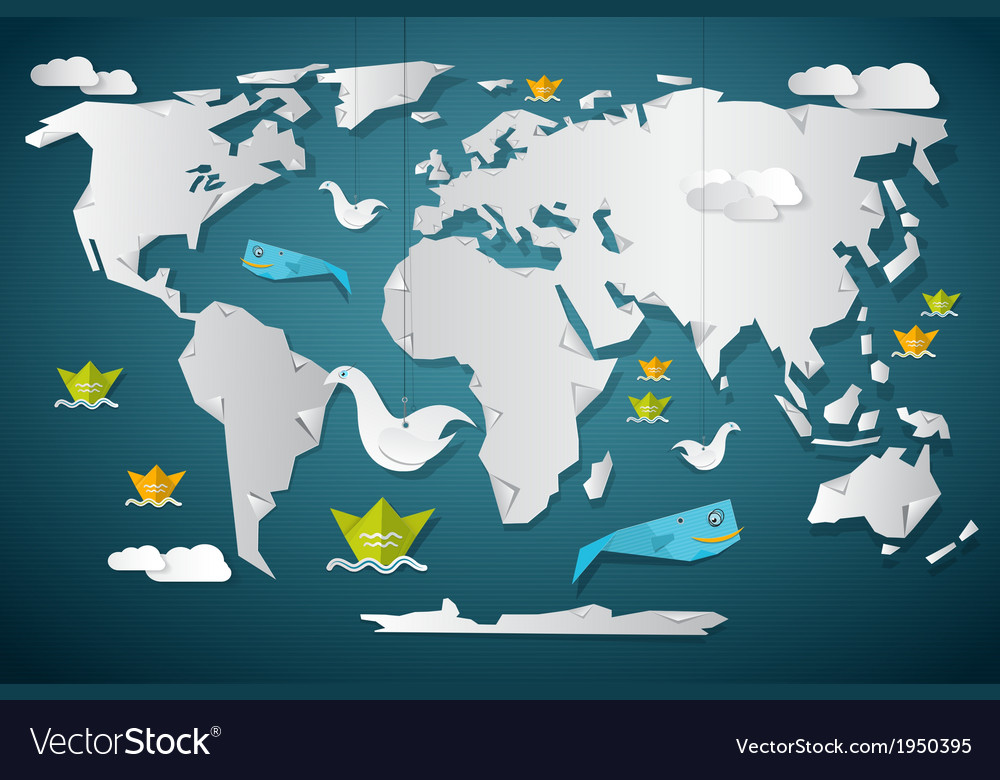 Paper world map with fish boats birds and clouds vector | Price: 1 Credit (USD $1)
