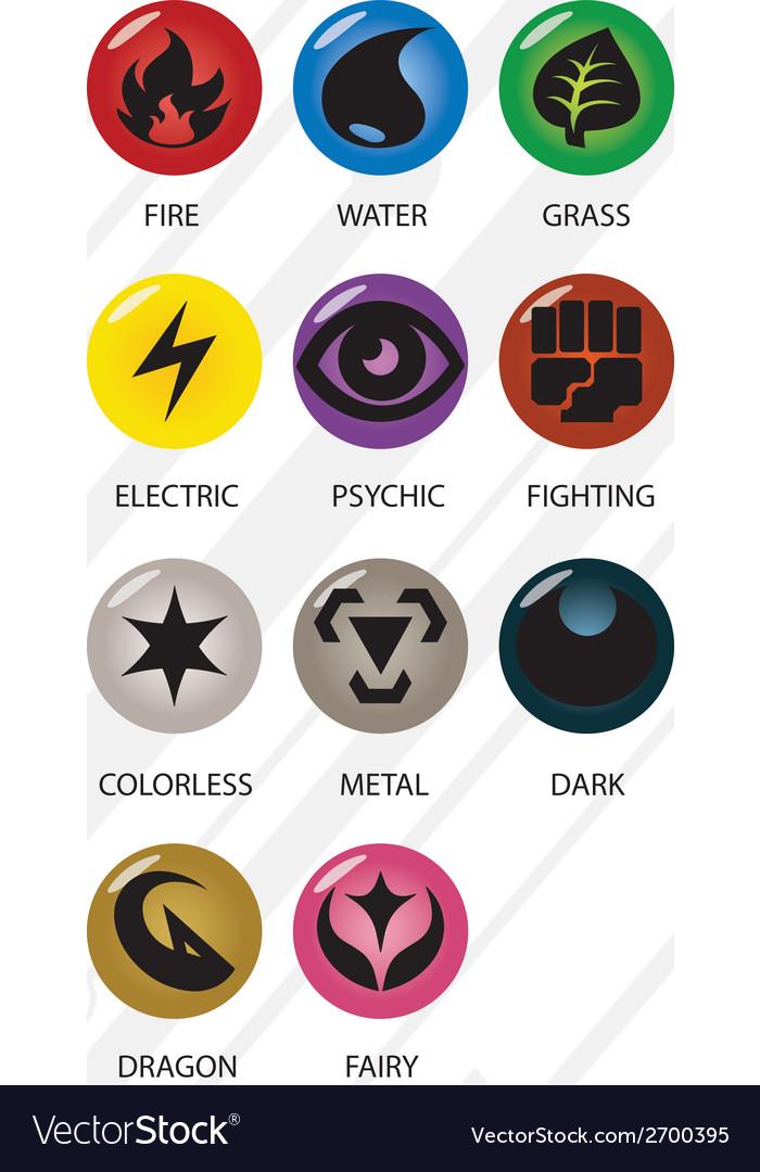 Pokemon type symbols vector | Price: 1 Credit (USD $1)