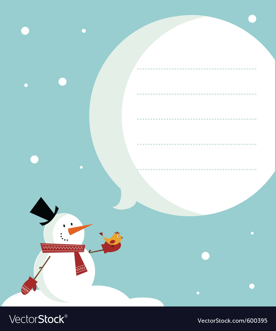Snow man card vector | Price: 1 Credit (USD $1)