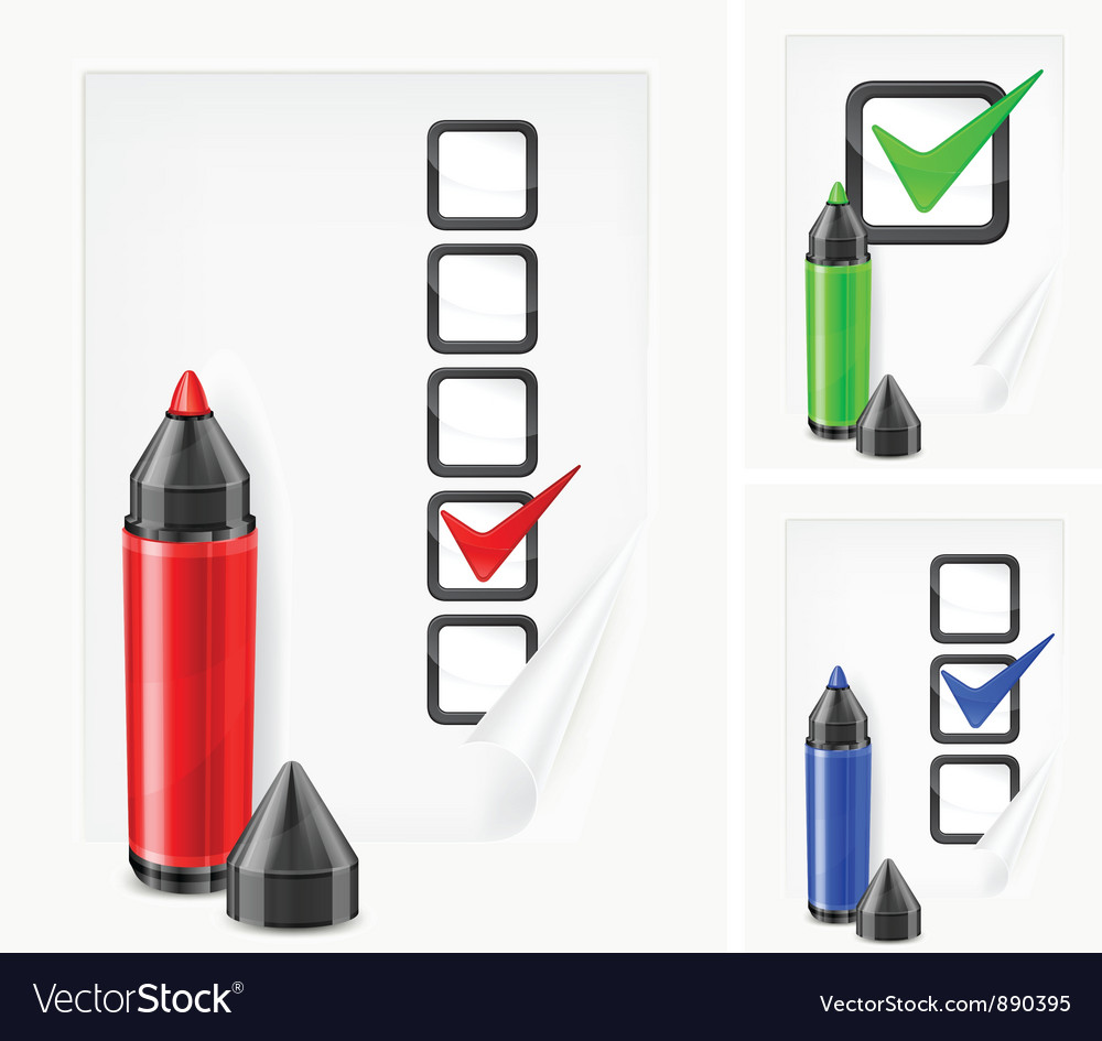 Voting paper color pen vector | Price: 3 Credit (USD $3)