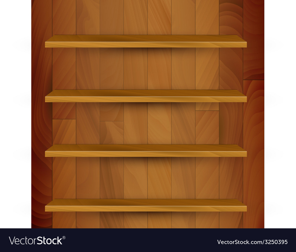 Wooden empty realistic bookcase vector | Price: 1 Credit (USD $1)