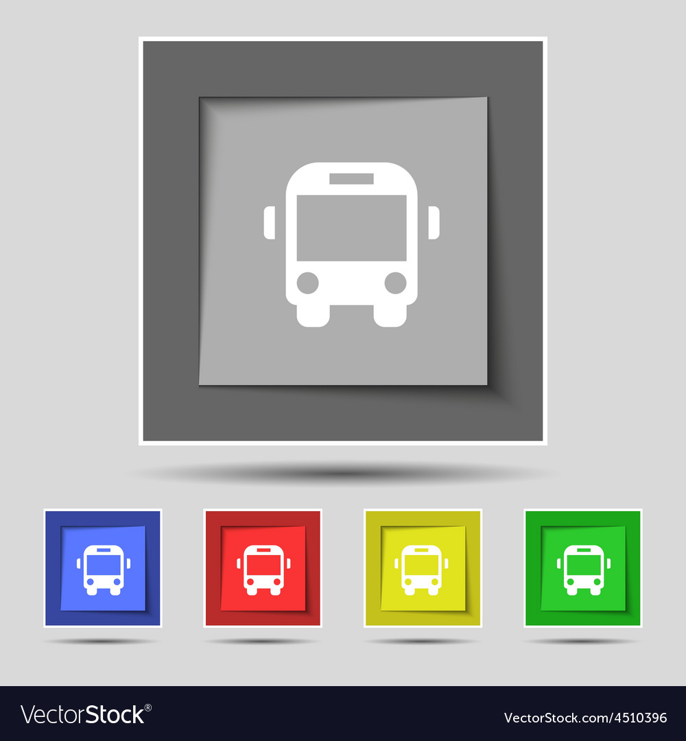 Bus icon sign on the original five colored buttons vector | Price: 1 Credit (USD $1)