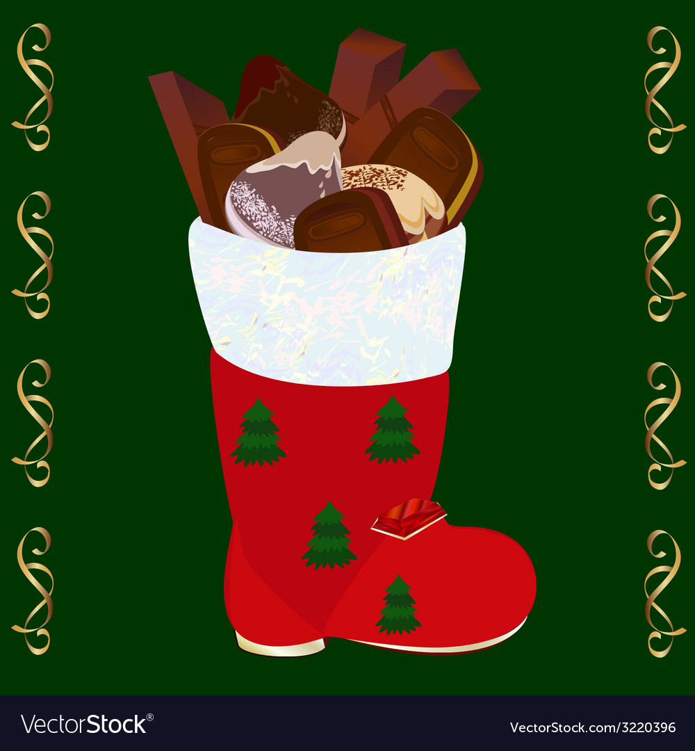 Christmas boots with set of candies and cookies vector | Price: 1 Credit (USD $1)