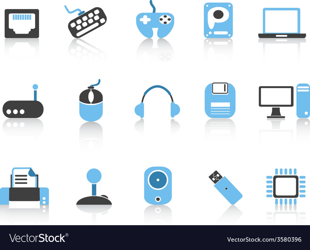 Computer devices icons set blue series vector | Price: 1 Credit (USD $1)