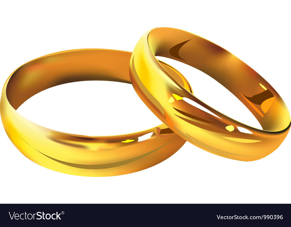 Couple of gold wedding rings vector | Price: 1 Credit (USD $1)