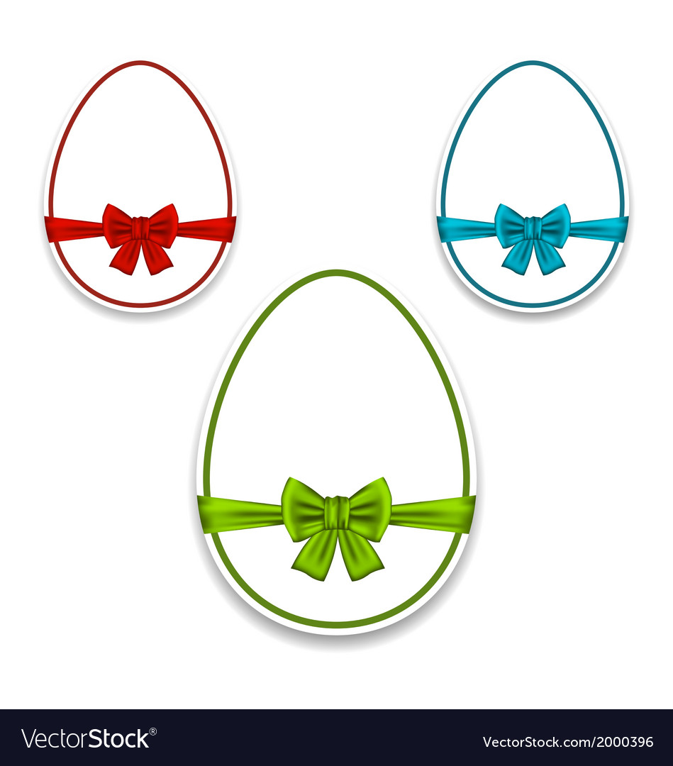 Easter set eggs wrapping colorful bows vector | Price: 1 Credit (USD $1)