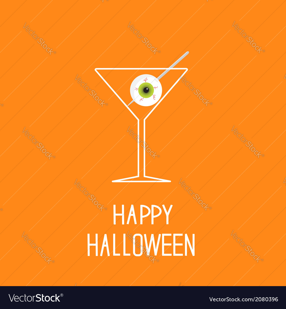 Martini glass with eyeball halloween card vector | Price: 1 Credit (USD $1)