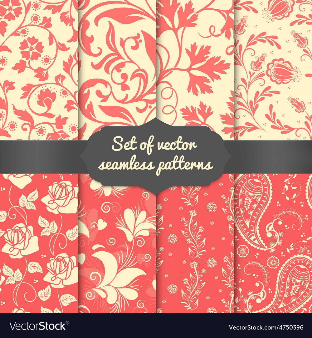 Set of flower seamless pattern elements vector | Price: 1 Credit (USD $1)