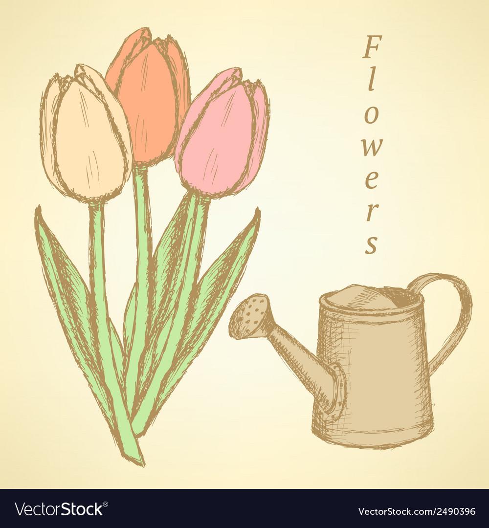 Wateringcan tulip vector | Price: 1 Credit (USD $1)