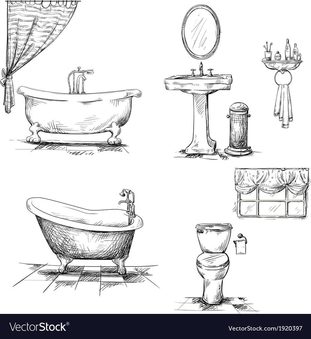 Bathroom interior elements hand drawn vector   Price: 1 Credit (USD $1)