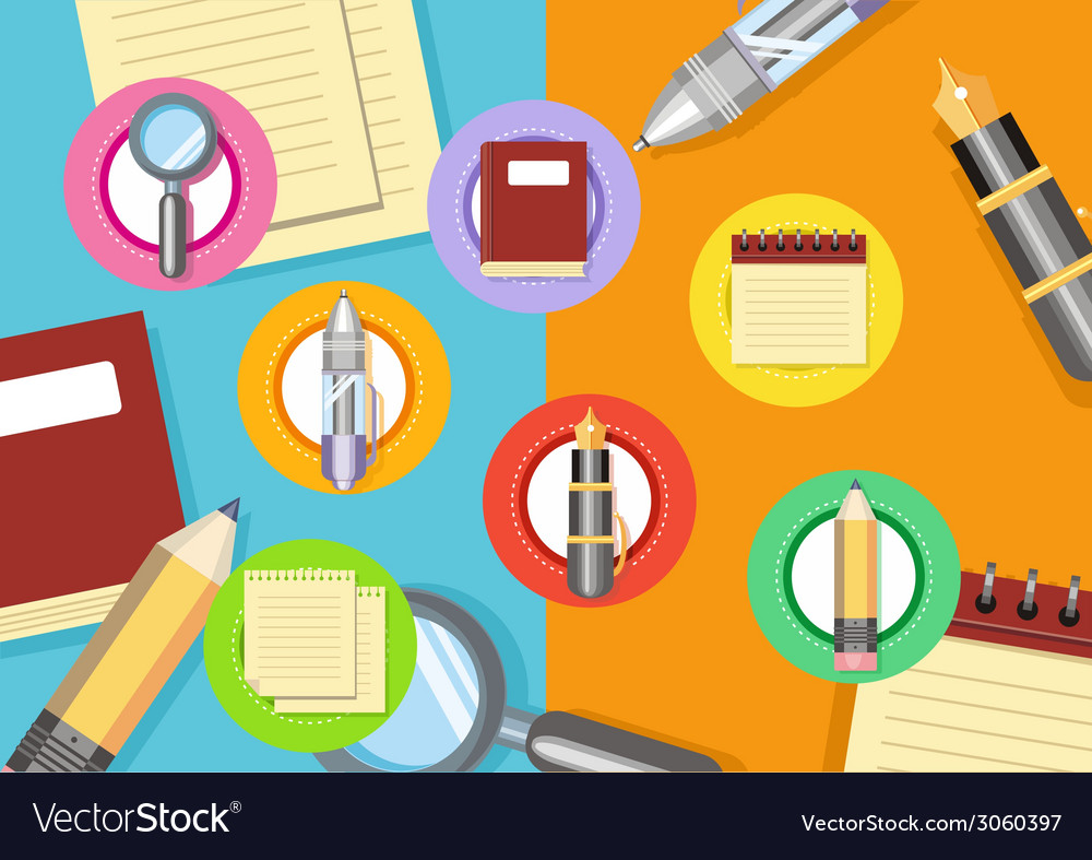 Business workplace with magnifying glass papers vector | Price: 1 Credit (USD $1)