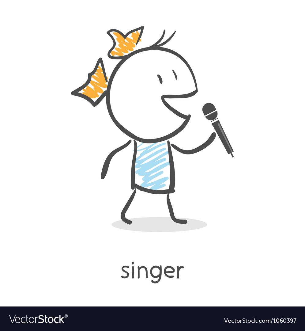 Cartoon girl singing into a microphone vector