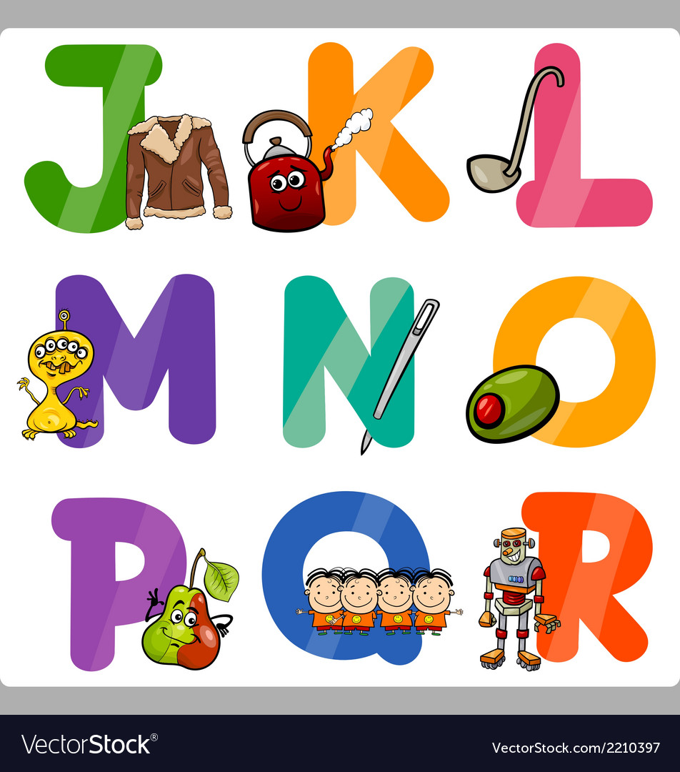 Education cartoon alphabet letters for kids vector | Price: 1 Credit (USD $1)