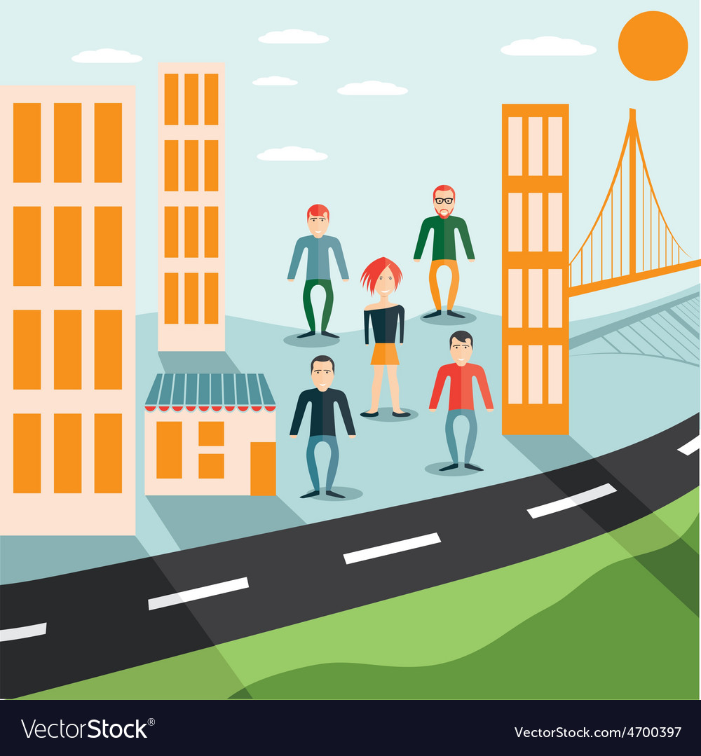 Four guys and girl in the city flat design vector | Price: 1 Credit (USD $1)