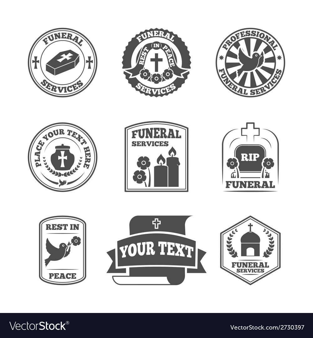Funeral labels icons set vector | Price: 1 Credit (USD $1)