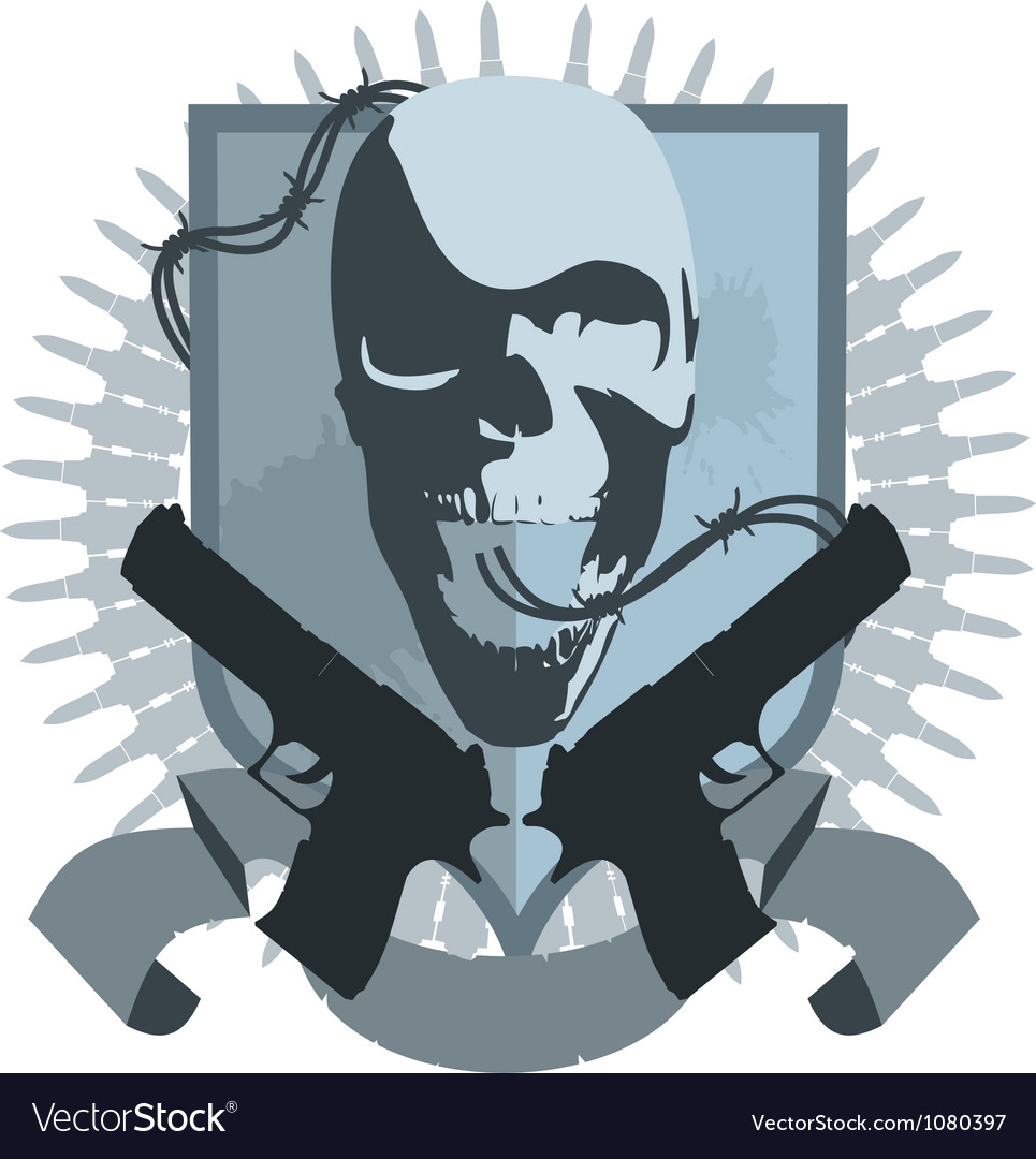 Gangster emblem with pistols vector | Price: 1 Credit (USD $1)