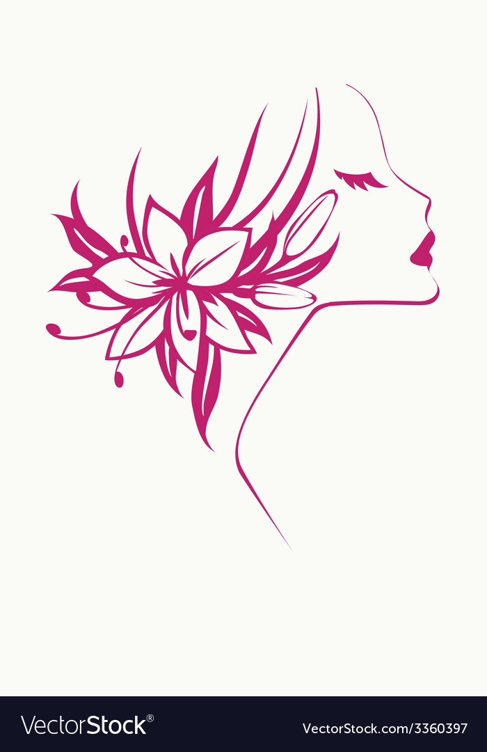 Girl with flowers vector | Price: 1 Credit (USD $1)