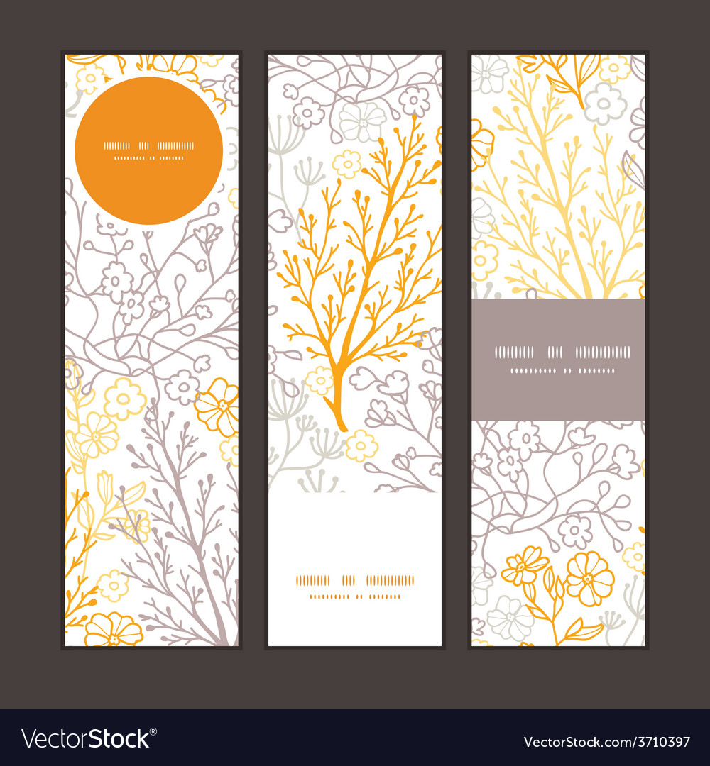 Magical floral vertical banners set pattern vector | Price: 1 Credit (USD $1)