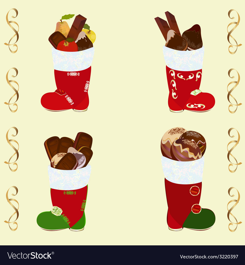 Santas boots set with sweets vector | Price: 1 Credit (USD $1)