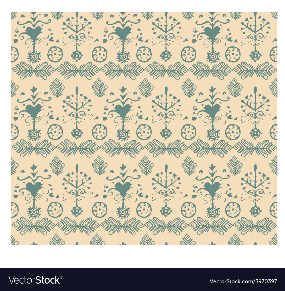 Seamless vintage retro abstract hand-drawn floral vector | Price: 1 Credit (USD $1)