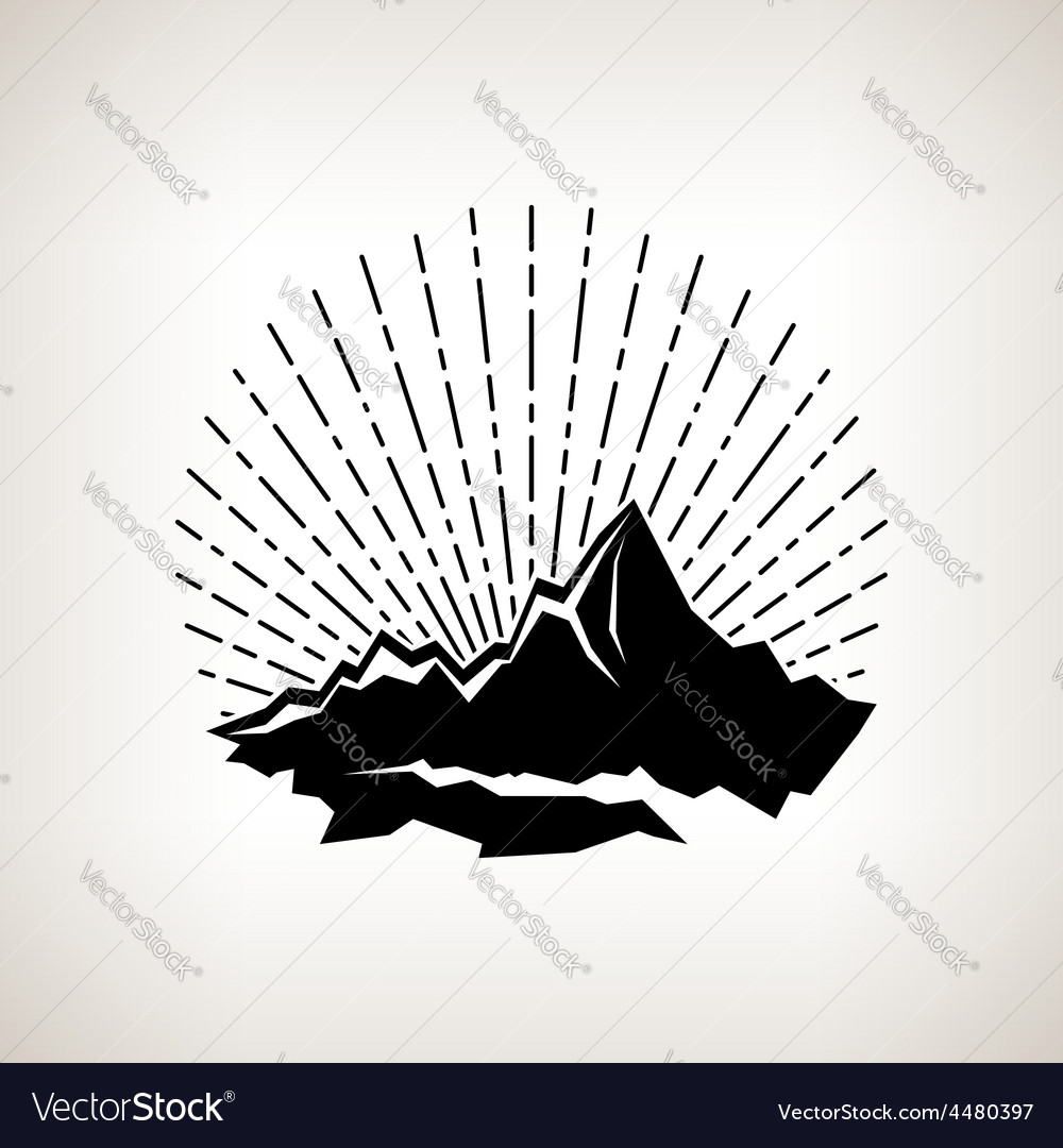Silhouette sunburst and the mountains vector | Price: 1 Credit (USD $1)