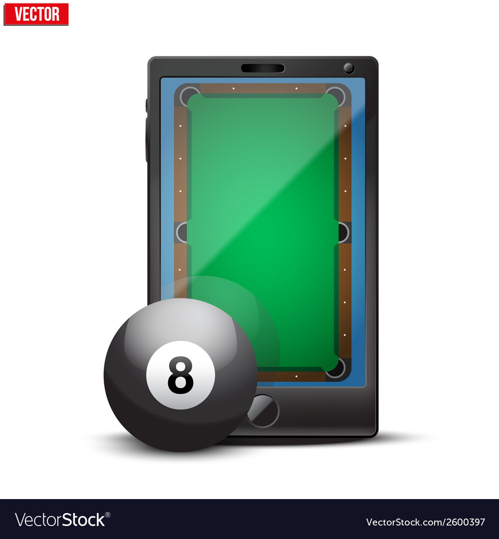 Smartphone with billiard ball and field on the vector   Price: 1 Credit (USD $1)