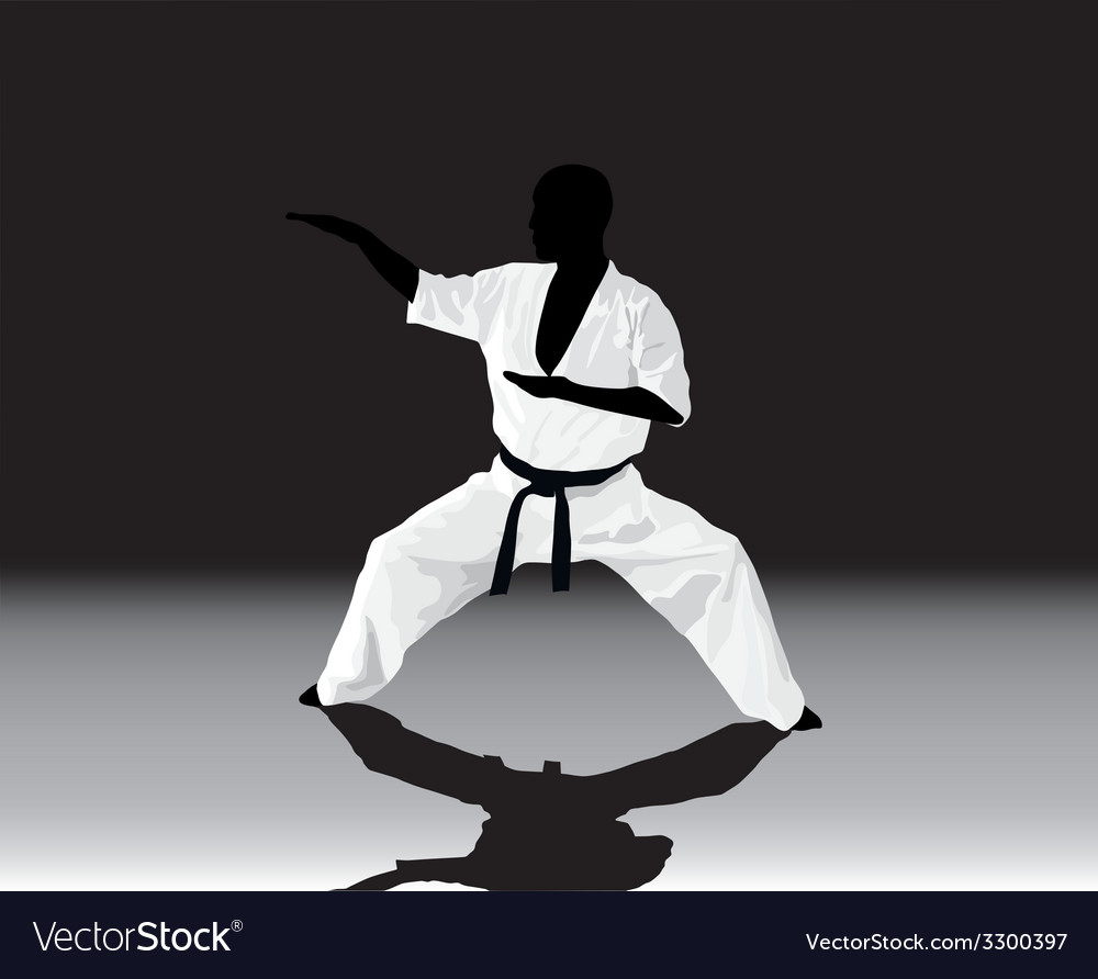The the man is engaged in karate on a black white vector | Price: 1 Credit (USD $1)