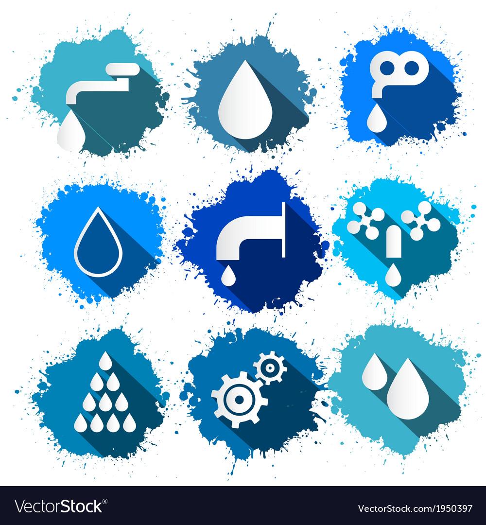 Water symbols - icons splash set vector | Price: 1 Credit (USD $1)