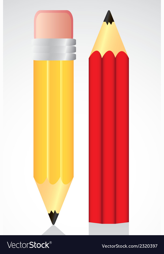 Yellow and red pencil isolated on white background vector | Price: 1 Credit (USD $1)