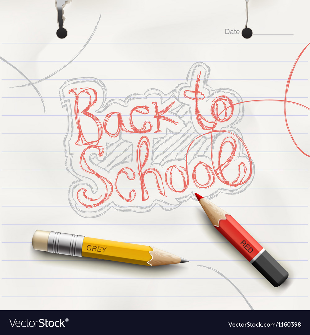 Back to school handwritten with red pencil vector | Price: 1 Credit (USD $1)
