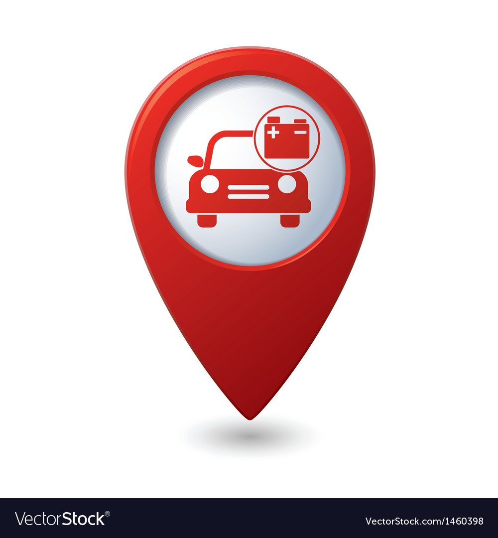 Car with accumulator icon red pointer vector | Price: 1 Credit (USD $1)