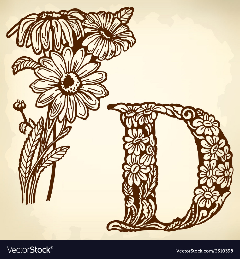 Daisy letter d vector | Price: 1 Credit (USD $1)