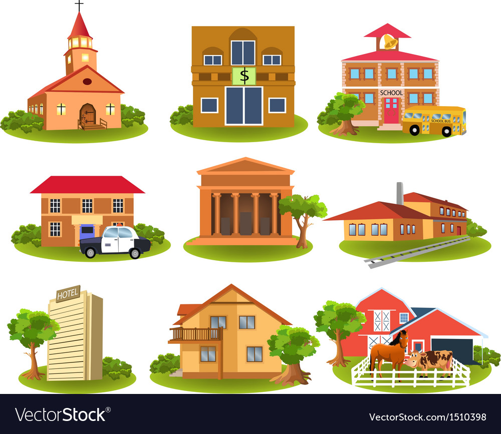 Different buildings vector | Price: 3 Credit (USD $3)